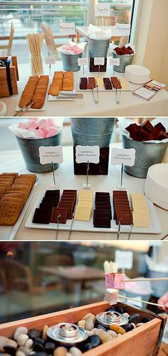 We had the chance to debut our Gourmet S'mores Bar at the Independent Wedding Association 's Groom's Night event - and what a success! Buffet Dessert, Dessert Bars, Fingers Food, Ghirardelli Chocolate, S'mores Bar, Think Food, Deco Table, Churros, Diy Wedding