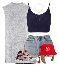 """Red Hot"" by oh-aurora ❤ liked on Polyvore featuring Topshop, Miss Selfridge, Levi's, NIKE, Stussy and Estée Lauder"