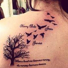 """My newest Tattoo. In memory of my 3 loved and lost beauty's. Nanny Babs, Grandad, Jessie <3   """"When a loved one becomes a memory, the memory becomes a treasure."""""""