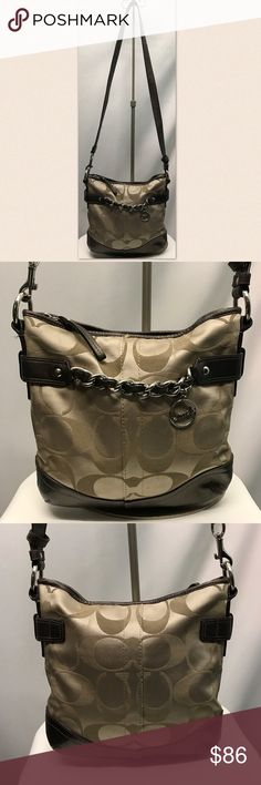 """COACH purse Light brown cloth """"C"""" patterned print with brown leather accents and silver hardware. This handbag is in beautiful condition. Interior is spotless with one zipper and two open pockets. Coach Bags Crossbody Bags"""