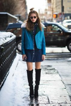 The denim miniskirt, the protagonist of many looks for Spring 2015