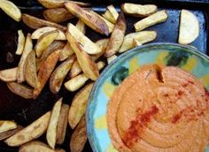 Roasted rosemary fries and spicy tomato hummus