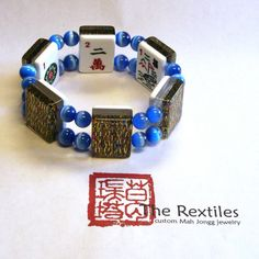 Mah Jongg Bracelet with Gold Confetti tiles & Blue Tiger's Eye fiber optic Beads, The Rexphiles