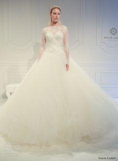 galia lahav spring 2017 bridal lace long sleeves illusion bateau sweetheart neckline lace bodice tulle princess ball gown a  line wedding dress v back (015) mv