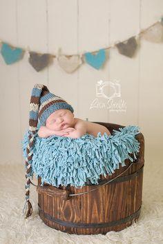Knitted Newborn Stocking Elf Baby Hat Blue Brown by LittleBirdLucy, $25.99