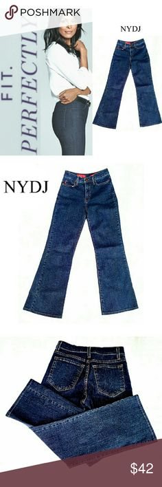 "NYDJ BOOT CUT TUMMY TUCK PETITE JEANS NYDJ BOOT CUT TUMMY TUCK PETITE JEANS  Pre-Loved  / EUC  RN# 63623 / STYLE #P400D *   Standard 5 Pocket Jean's *   96% Cotton  4% Spandex *   Lots of Stretch & Firmness in the Right Places Approx Meas;    - Waist 13""    - Inseam 27""    - Rise 10""    - Leg Opening 9"" Pls See All Pics. Ask ? If Needed NYDJ Jeans Boot Cut"