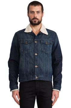 True Religion Wayne Faux Sherpa Lined Denim Jacket in Navy | Coat, Jacket and Clothing