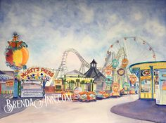 """Wildwood Summer - Morey's Piers on the New Jersey Boardwalk - Fine Art Wall Art Artwork Watercolor Print. """"Wildwood Summer"""" is a fine art giclee reproduction of an original watercolor by Brenda Ann featuring rides, water park and a roller coaster at Morey's Piers on the boardwalk in Wildwood, New Jersey. This print is made with archival inks on heavy, acid free, matte, slightly textured velvet fine art paper. It will last for generations. The watermark will not appear on your print. Each..."""