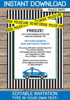 Police Birthday Party Invitations | Police Car | Birthday Party | Editable DIY Theme Template | INSTANT DOWNLOAD $7.50 via SIMONEmadeit.com