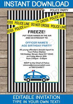 Police Birthday Party Invitations   Police Car   Birthday Party   Editable DIY Theme Template   INSTANT DOWNLOAD $7.50 via SIMONEmadeit.com