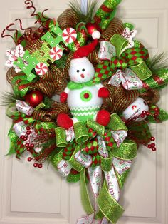 Snowman Mesh Wreath by WilliamsFloral on Etsy, $109.00