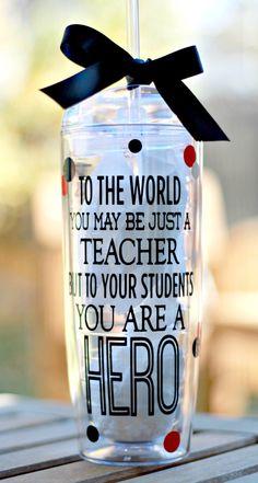 Personalized teacher Tumbler, Teacher Cup, Teacher appreciation gift, 20 oz. Teacher Tumbler with sipper lid and straw by ShopFourArrows on Etsy https://www.etsy.com/listing/210165709/personalized-teacher-tumbler-teacher-cup