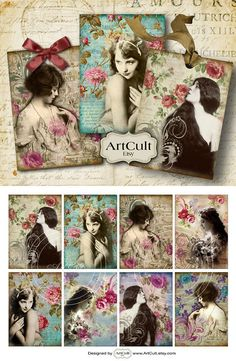 FLORAL GIRLS  Designed Gift Tags Digital Collage Sheet by ArtCult, $4.60