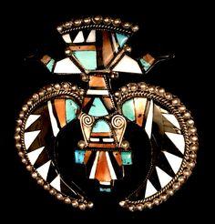 Dexter Cellicion Zuni Knifewing Pin Pendant Enhancer - Vintage Jewelry, Zuni Jewelry, Pin, Knifewing Pin, Pendant, Knifewing Pendant