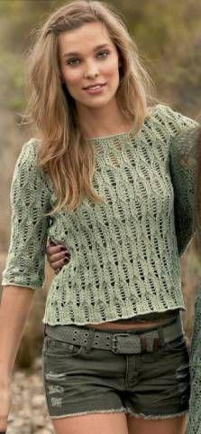 Короткий тонкий пуловер | Вязание и рукоделие