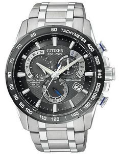Citizen Mens Perpetual Chrono AT4010-50E 5 time zone Atomic black