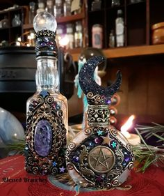 How pretty is this Amethyst planter? 🌱🌿🔮 by ❤ Tag someone who'd love them! Photo edited by . Wiccan Decor, Magick, Witchcraft, Potion Bottle, Bottle Art, Bottle Crafts, Altered Bottles, Witch Aesthetic, Ancient Artifacts