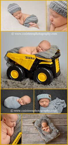 newborn boy, Allen, Tonka, baby in truck, yellow, gray, newborn posing, dark gray, light gray, construction newborn, baby, infant, pants and hat, mohair wrap, tushie up pose, wrapped,