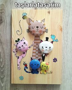 Cats - Imgram Pin to Pin Pebble Painting, Pebble Art, Stone Painting, Painting On Wood, Stone Crafts, Rock Crafts, Diy And Crafts, Crafts For Kids, Painted Rock Animals