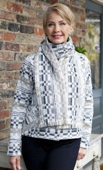 LucilleCrighton14WhiteGreyTaupe Cowl Neck, Woven Fabric, Hand Weaving, Archive, Loom, Turtle Neck, Textiles, Pullover, Knitting