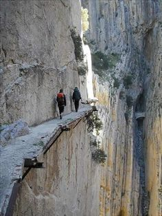 The Desfiladero de los Gaitanes limestone gorge, near the village of El Chorro located in southern Spain. The gorge is famous for the very dangerous path called Caminito del Rey (Kings little pathway).