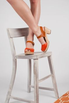New High Wood Open Clogs in Orange and Tan Leather