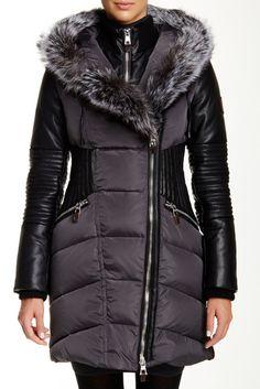 Image of Nicole Benisti Genuine Fox Fur Trim Faux Leather Sleeve Down Coat Down Coat, Fox Fur, Fur Trim, Nordstrom Rack, Choices, Winter Jackets, Sleeves, Leather, Image