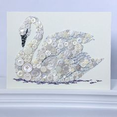 Made to Order White Swan Button Art  White Swan Wall Hanging
