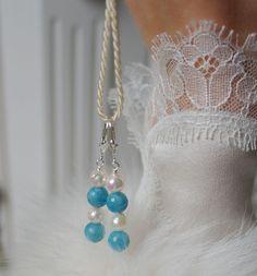 Aquamarin Akoya Perlen Ohrringe Sterlingsilber Akoya Pearl Aquamarine Earrings