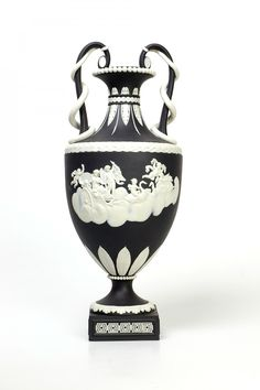 Jasper Snake Handled Vase; black with white reliefs, Photography M.Coupe, © Wedgwood Museum
