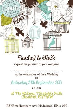 Personalized Bird Cage Wedding Invitations to match your bird wedding - #birds #wedding #invitations