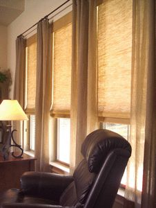These are Woven Wood Shades. Call Budget Blinds for your FREE in~home consultation!