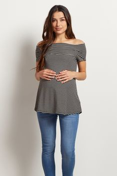 Black Striped Off Shoulder Maternity Top