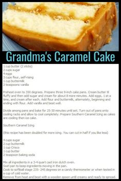 cake recipes Grandmas Desserts - Dessert recipes that your mom, your grandmother (or your lunch lady) used to make from scratch - grandmas caramel cake recipe - Homemade Potluck and Family Reunion Dessert Ideas That Will Even Please Your Church Crowd Caramel Cake Recipe Homemade, Homemade Brownie Mix, Homemade Cake Recipes, Caramel Cake Icing, Caramel Cakes, Dump Cake Recipes, Cake Recipes From Scratch, Dessert From Scratch, Brownie Recipes