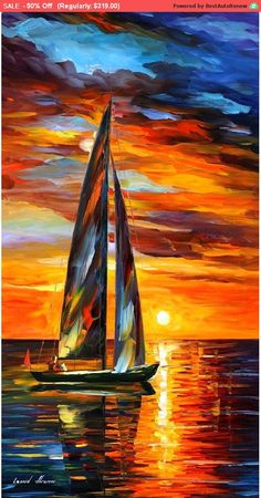 OIL ON CANVAS PAINTING DIRECTLY FROM FAMOUS ARTIST LEONID AFREMOV  Title: Sailing With The Sun Size: 20 x 36 inches (50cm x 90cm) Condition: Excellent Brand new Gallery Estimated Value: $12,000 Type: Original Recreation Oil Painting on Canvas by Palette Knife  This is a recreation of a piece which was already sold.  The recreation is 100% hand painted by Leonid Afremov using oil paint, canvas and palette knife.  Its not an identical copy, its a recreation of an old subject. This recreation…