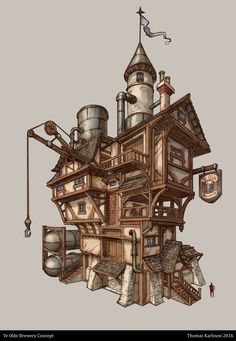 Ye Olde Brewery, Thomas Karlsson on ArtStation at… Casa Steampunk, Steampunk Ship, Steampunk Makeup, Steampunk Drawing, Steampunk City, Steampunk Fashion, Steampunk Costume, Steampunk Clothing, Gothic Fashion