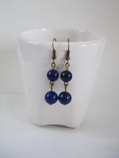 Genuine Lapis Lazuli Long Drop Earrings on by FreeRangeLondon, £12.00