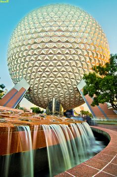 EPCOT Center - SpaceShip Earth Fountain (Day) by Tom Bricker (WDWFigment), via Flickr