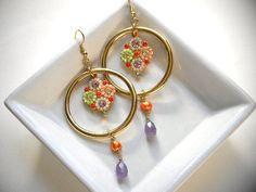 Pale Purple Gemstone Tear DropHoop earrings by OstaraTokyo on Etsy