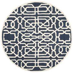 Safavieh Handmade Cambridge Navy (Blue)/ Ivory Wool Rug (6' Round) (CAM570M-6R), Size 6'