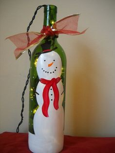 Painted Bottles With Lights Inside | Christmas DIY / Snowman hand-painted wine bottle with lights inside