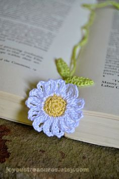 Handmade Crocheted Bookmark Forget Me Not by joyoustreasures
