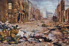 Infantes estadounidenses armados con el fusil Springfield M1903 combaten en las calles de Cherburgo, Junio de 1944. Peter Dennis. Más en www.elgrancapitan.org/foro/