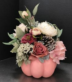 Pink and Cream Pumpkin will look great with your seashells in your Beach Cottage this Autumn season. Just pick up some fresh blooms from the market. Pumpkin Flower, Baby In Pumpkin, Pumpkin Bouquet, Pink Pumpkins, Fall Pumpkins, Painted Pumpkins, Otoño Baby Shower, White Pumpkin Decor, Pumpkin 1st Birthdays