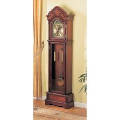 Coaster Company Cherry Wood Grandfather Clock with Chime (Cherry), Brown
