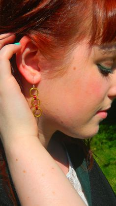 Harry Potter Inspired Gryffindor Chainmaille Earrings $4.99