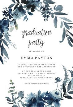 Indigo Flowers Free Graduation Party Invitation Template Greetings Island