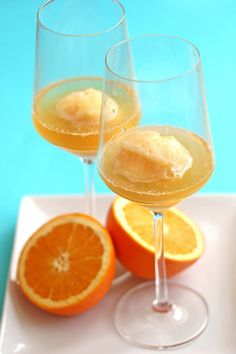 Use orange sorbet and champagne to make this cocktail.