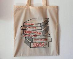 Haruki Murakami Book Tote Bag Stack Literary by LouiseNormanStudio, £16.00