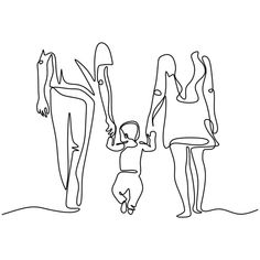 Continuous one single line drawing of family walking mother father and son concept of holding hands together parenting and childhood theme metaphor vector illustration simplicity style PNG and Vector Single Line Drawing, Continuous Line Drawing, People Holding Hands, Family Drawing, Family Sketch, Person Drawing, Outline Art, Minimalist Drawing, Image Clipart